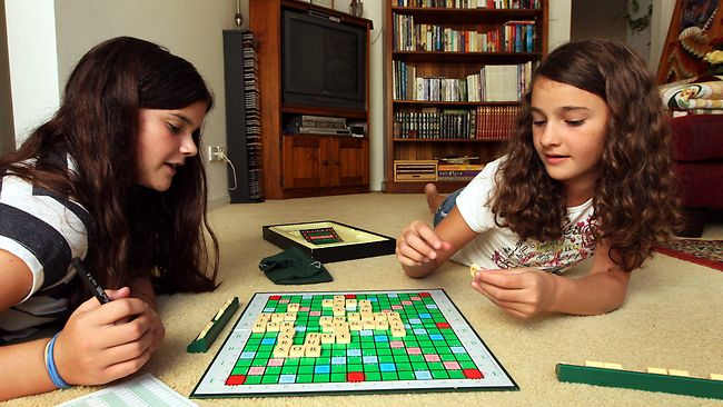 Girls Playing Scrabble